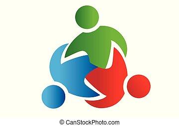 ludzie, wzmacniacz, teamwork, próba, logo