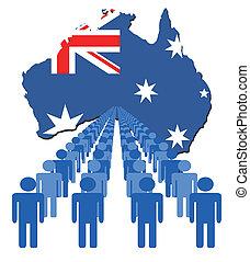 ludzie, z, australia, mapa, bandera