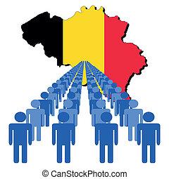 ludzie, z, belgia, mapa, bandera