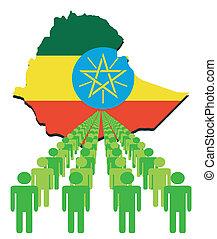 ludzie, z, etiopia, mapa, bandera