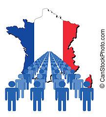 ludzie, z, francja, mapa, bandera
