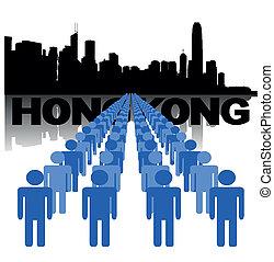 ludzie, z, hongkong, sylwetka na tle nieba