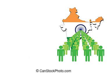 ludzie, z, indie, mapa, bandera