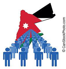 ludzie, z, jordan, mapa, bandera
