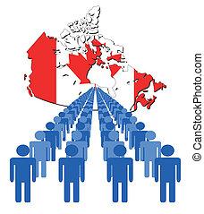 ludzie, z, kanada mapa, bandera