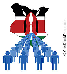 ludzie, z, kenia, mapa, bandera