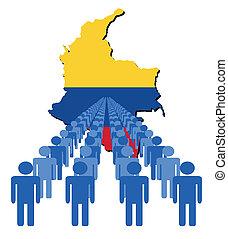 ludzie, z, kolumbia, mapa, bandera