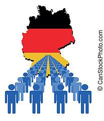 ludzie, z, niemcy, mapa, bandera