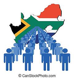 ludzie, z, południowa afryka, mapa, bandera