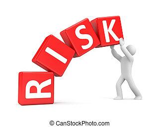 ludzie, z, ryzyko, kostki