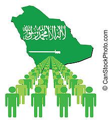 ludzie, z, saudi arabia, mapa, bandera