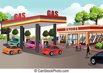 ludzie, zaopatrywać, stacja, udogodnienie, gaz