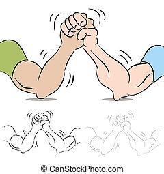 ludzie, zapaśniczy, ręka, dwa