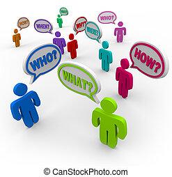 ludzie, zapytujące pytania, w, mowa, bańki, szukając, poparcie