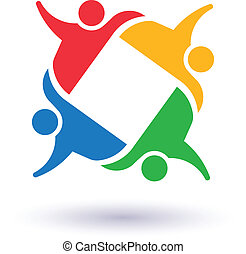 ludzie, zjednoczony, towarzyski, 4, ikona, drużyna, wektor, ...