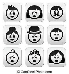 ludzie, zmęczony, chory, twarze, ikony, albo