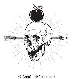 ludzka czaszka, strzała, przedziurawiony