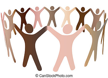 ludzka skóra, tony, mieszanka, w, ring, od, rozmaity, ludzie