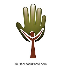 ludzki, barwny, drzewo, ręka, formułować, liście, pień