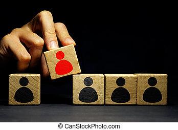 ludzki, individuality., rzadkość, hr., zasoby, dzierżawa, cube., człowiek