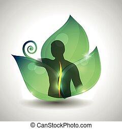 ludzki kręgosłup, sanitarna troska, ludzki kręgosłup, sylwetka, i, zielony liść, na, przedimek określony przed rzeczownikami, tło.