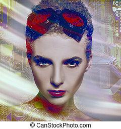ludzki, nauka, abstrakcyjna twarz, wykresy, tło, technologia