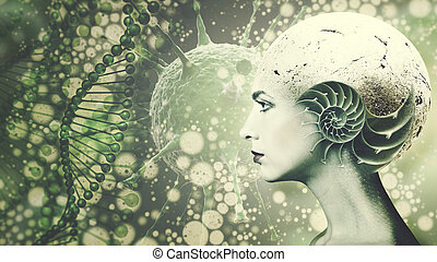 ludzki, nauka, biologically, zmodyfikowany, twarz, tło, organizm, wykształcenie