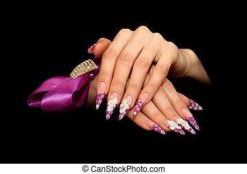 ludzki, palce, z, długi, fingernail