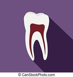 ludzki, ząb, płaski, ikona