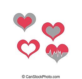 ludzkie serce, ikony, albo, symbolika, dla, miłość