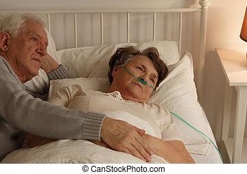 luego, acostado, agonizante, esposa