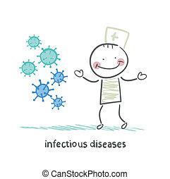 luego, enfermedades, estantes, infección, contagioso
