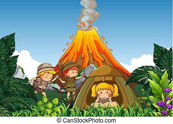 luego, niños, volcán, campamento, campo