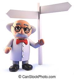luego, poste, señal, científico, posición, caricatura, ...