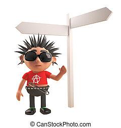 luego, roca del punk, carácter, blanco, posición, encrucijada, caricatura, ilustración, señal, 3d