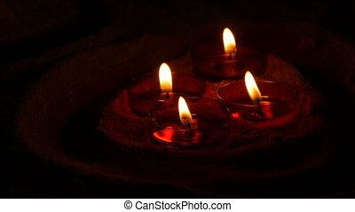 lueur bougie, sombre, catholique, brûlé, rond, obseque,...
