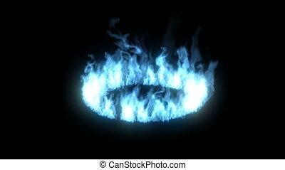 lueur, noir, brûler, fond, cercle, anneau bleu