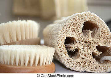 Natural spa accesories lufa bristle brushes and foot brush