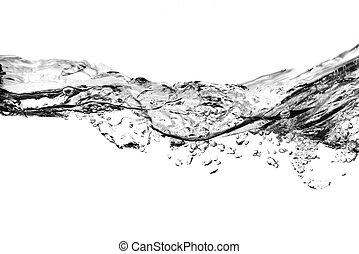luft, bubblar, in, vatten, -, svartvitt