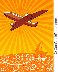 luft flyvemaskine, flyve hen, den, hav