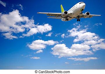 luft flyvemaskine, og, skyer