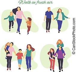 luft., folk, gang, frisk, aktiv, illustration, unge, family., park, vektor, sunde, lejlighed, illustration., stylized, lifestyle.