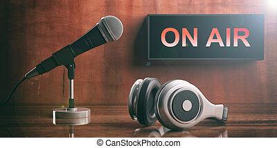 luft, geschrieben, auf, a, schwarz, kasten, kopfhörer, und, a, microphone., 3d, abbildung