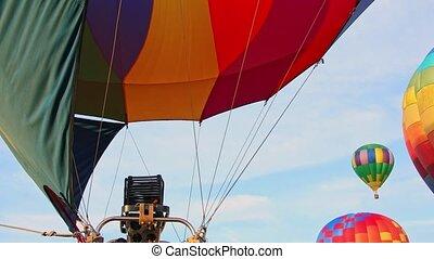 luft, heiß, bereit, ablegen, bekommen, balloon