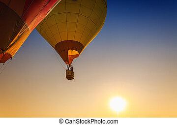luft, heiß, luftballone