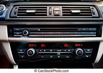 luft, inre, bil, närbild, betingning, nymodig