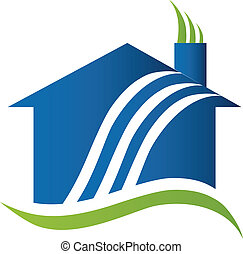luft, logo, genbrug, hus