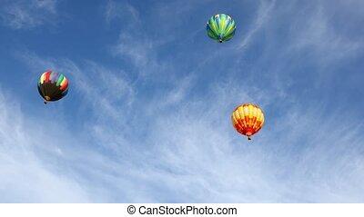 luft, luftballone, heiß, bunte