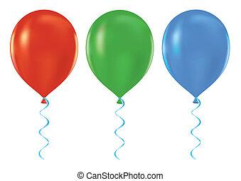 luft, luftballone, vektor, satz