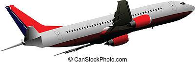 luft., motorflugzeug, vektor, illust